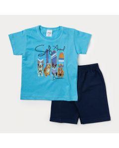 Conjunto de Roupa Infantil Masculino Camiseta Azul Surf e Bermuda Azul Marinho