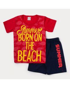Conjunto de Verão para Menino Camiseta Vermelha Abacaxi e Bermuda Azul Marinho