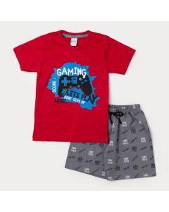 Conjunto Infantil de Verão Masculino CamisetaVermelha Game e Bermuda Cinza