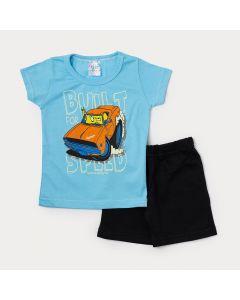 Conjunto Infantil Masculino Camiseta Azul Carros e Bermuda Preta