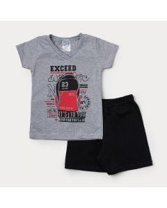 Conjunto Infantil Masculino Camiseta Cinza Estampada e Bermuda Preta