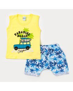 Conjunto de Verão Menino Regata Amarela Surf e Short Estampado Azul