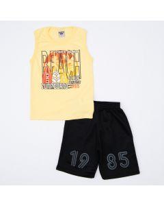 Conjunto Regata Amarela Estampada e Short Preto Infantil Masculino