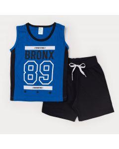Conjunto Infantil Masculino Regata Azul Estampada e Short Preto