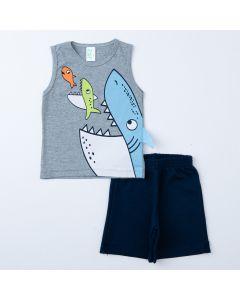 Conjunto para Menino de Verão Regata Cinza Tubarão e Short Marinho