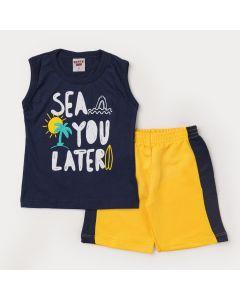 Conjunto de Verão para Menino Regata Marinho Estampado e Short Amarelo