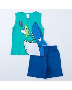 Conjunto de Verão Menino Regata Verde Tubarão e Short Azul
