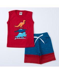 Conjunto Curto para Menino Regata Vermelha Dino e Short Marinho