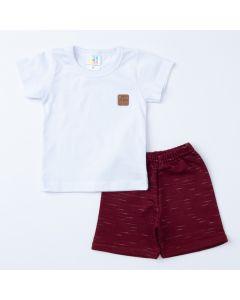 Conjunto de Verão Bebê Menino Blusa Branca Básica e Short Bordô