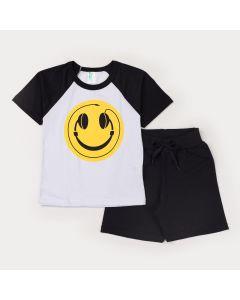 Conjunto de Verão Infantil Masculino Blusa Branca Estampada e Short Preto