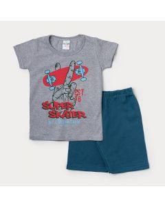 Conjunto de Verão para Menino Camiseta Cinza Skate e Bermuda Azul