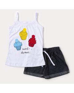 Conjunto para Menina de Verão Regata Branca Cupcake e Short Cotton Jeans Preto