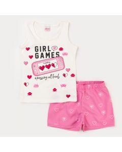 Conjunto de Verão Regata Branca Game e Short Rosa Estampado para Menina
