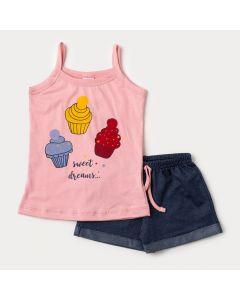 Conjunto para Menina de Verão Regata Rosa Cupcake e Short Cotton Jeans Marinho