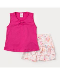 Conjunto de Verão para Menina Regata Pink com Laço e Saia Estampada Rosa