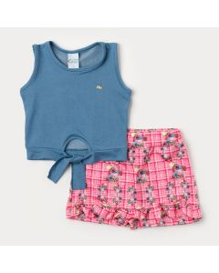 Conjunto Feminino Infantil de Verão Regata Cotton Jeans Azul e Short Saia Rosa Floral