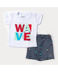 Conjunto de Verão para Bebê Menino Blusa Branca Surf e Short Preto Listrado