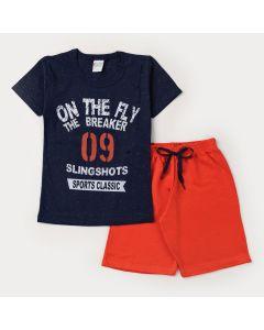 Conjunto de Verão para Menino Blusa Marinho Estampada e Short Vermelho