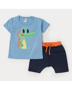Conjunto de Verão Menino Blusa Azul Jacaré e Short em Moletinho Marinho