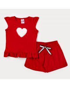 Conjunto de Verão para Menina Vermelho Blusa Coração e Short Básico
