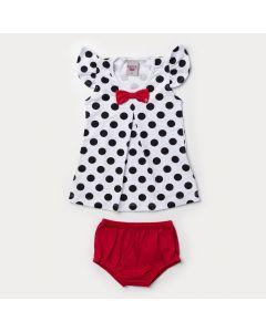 Vestido Branco para Bebê Menina com Bolinha e Tapa Fraldas Vermelha