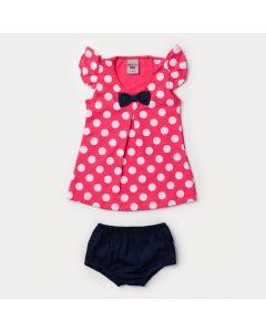 Vestido Pink para Bebê Menina com Bolinhas e Tapa Fralda Marinho