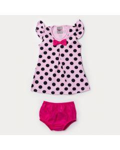 Vestido Rosa para Bebê Menina com Bolinhas e Tapa Fraldas Pink