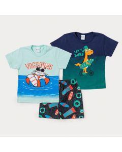 Conjunto 2 Camisetas Infantis Masculinas e 1 Bermuda Estampada