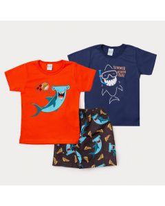 Conjunto 2 Camisetas Menino e 1 Bermuda Infantil com Estampa de Tubarão