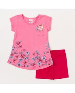 Conjunto Bebê Feminino Bermuda Ciclista Pink e Blusa Rosa com Estampa