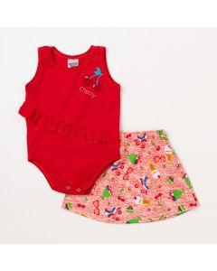 Conjunto Feminino Body Vermelho Cereja e Saia Vermelha Estampada