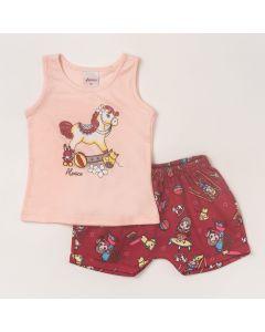 Conjunto Bebê Feminino Regata Rosa Estampa com Glitter e Shorts Vermelho Estampado