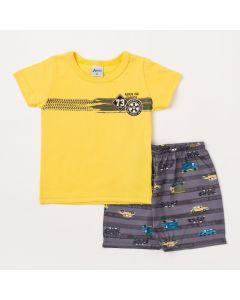 Conjunto Bebê Masculino Camiseta Amarela e Bermuda Cinza Estampada