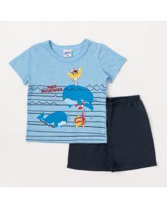 Conjunto Bebê Masculino Camiseta Azul Fundo do Mar e Bermuda Marinho