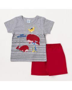 Conjunto Bebê Masculino Camiseta Cinza Fundo do Mar e Bermuda Bordô