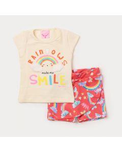 Conjunto Bebê Menina Blusa Marfim Arco-Íris e Short Saia Rosa Estampado