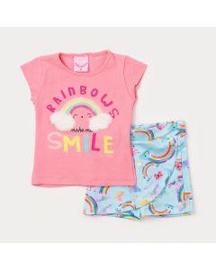 Conjunto Bebê Menina Blusa Rosa Arco-Íris e Short Saia Verde Estampado