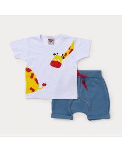 Conjunto Bebê Menino Blusa Branca Girafa e Bermuda Saruel Azul
