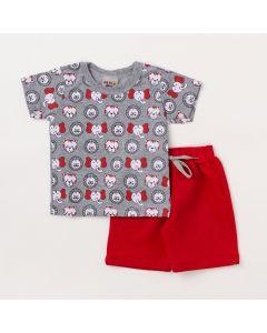Conjunto Bebê Menino Blusa Cinza Estampada e Bermuda Vermelha