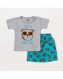 Conjunto Bebê Menino Blusa Cinza Urso e Bermuda Verde Estampada