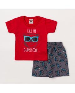 Conjunto Bebê Menino Blusa Vermelha Urso e Bermuda Preta Estampada