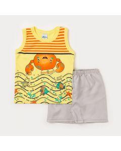 Conjunto Bebê Menino Regata Amarela Marinheiro e Bermuda Marfim-2
