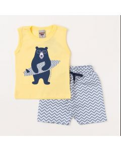 Conjunto Bebê Menino Regata Amarela Urso e Bermuda Listrada