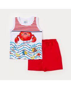 Conjunto Bebê Menino Regata Branca Marinheiro e Bermuda Vermelha-2