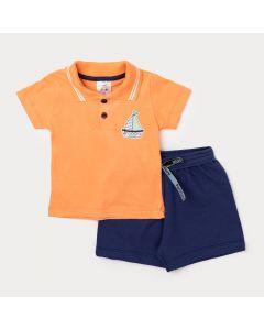 Conjunto Camiseta de Bebê Gola Polo Laranja e Bermuda Azul Marinho