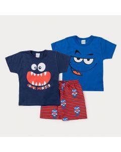 Conjunto com 2 Camisetas para Meninos e 1 Bermuda Listrada