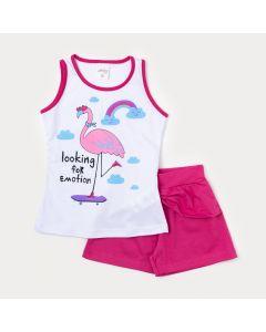 Conjunto de Roupa Feminina Infantil Regata Branca Flamingo e Short Pink