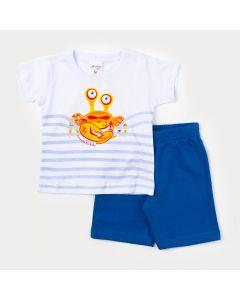 Conjunto De Roupa de Bebê Menino Camiseta Branca Caranguejo e Bermuda Azul