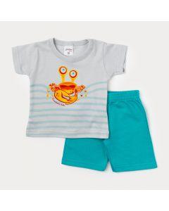 Conjunto Bebê Menino Bermuda Verde e Camiseta Cinza Caranguejo