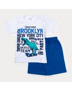 Conjunto Infantil Masculino Camiseta Branca Dinossauro e Bermuda Azul